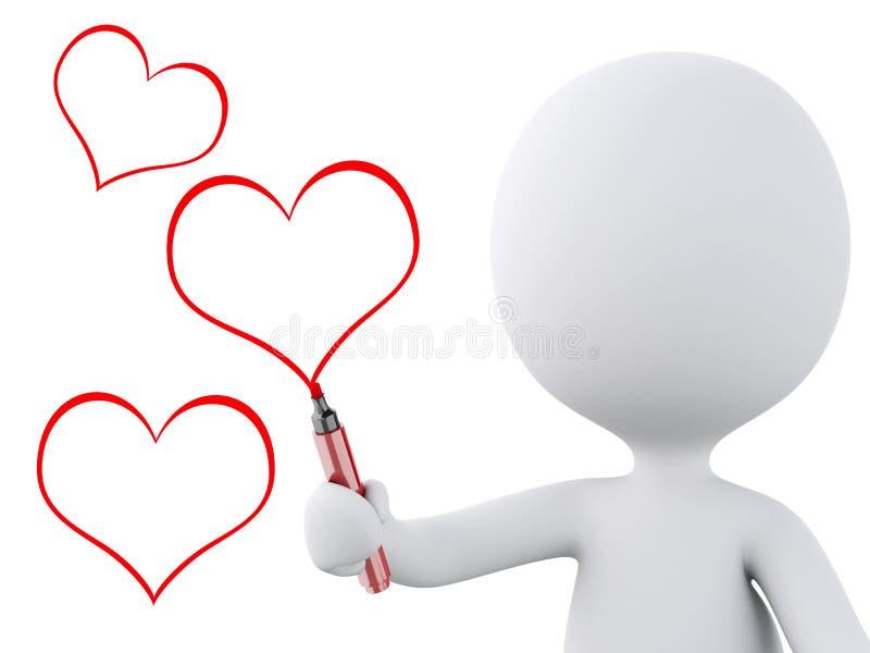 Rotes Herz Gezeichnet Von Den Weißen Leuten Zu Küssen Mann Und Frau ...