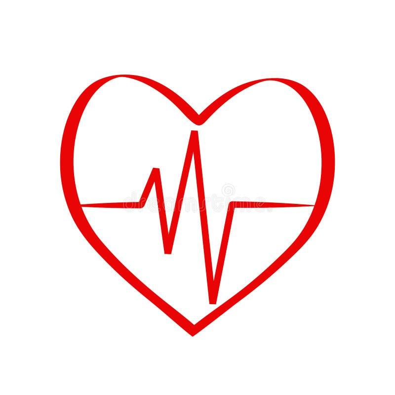 Rotes Herz im medizinischen Entwurf der Kardiologie über weißer Hintergrundvektorillustration stock abbildung