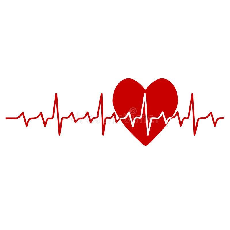 Rotes Herz im medizinischen Entwurf der Kardiologie über weißer Hintergrundvektorillustration vektor abbildung