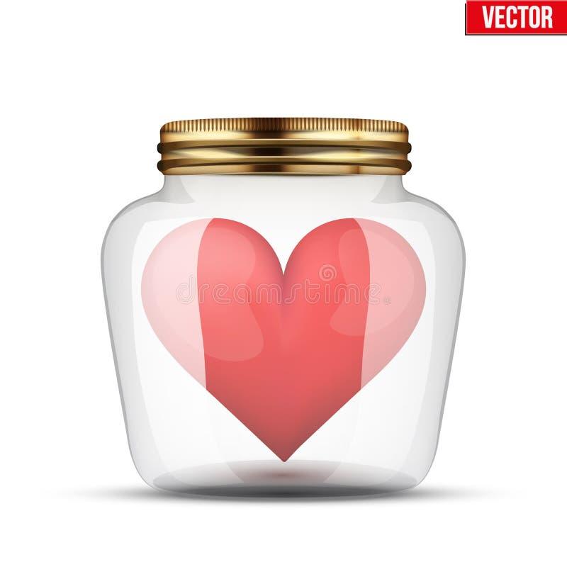 Rotes Herz innerhalb des Glasgefäßes stock abbildung