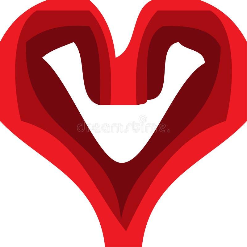 Rotes Herz, Kunst mit 3 Schatten Rot stock abbildung