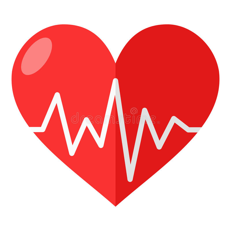 Rotes Herz mit Elektrokardiogramm-flacher Ikone vektor abbildung