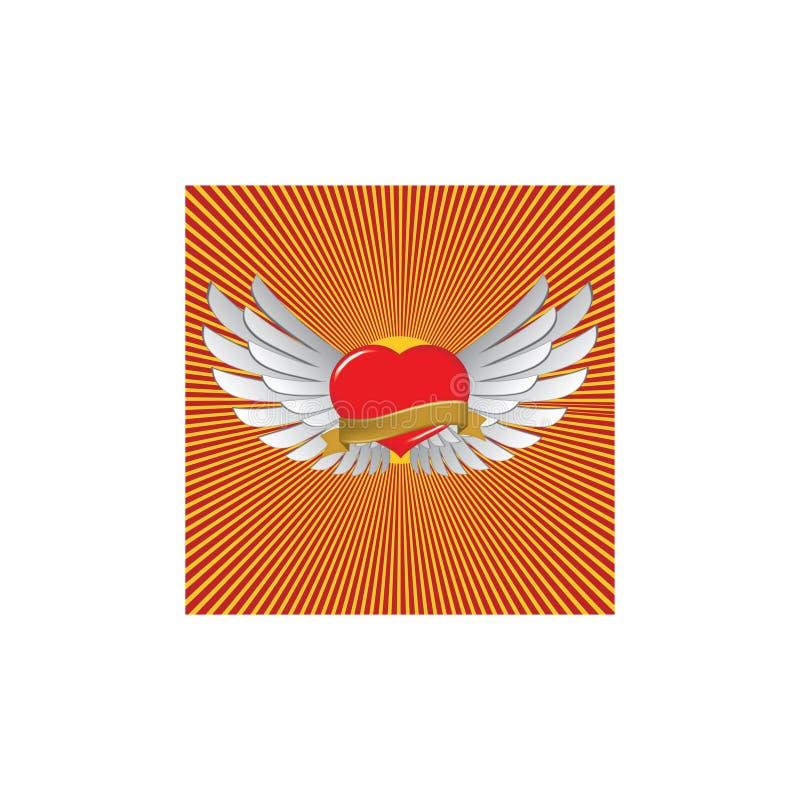 Rotes Herz mit Flügeln stock abbildung