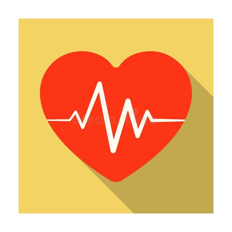 Rotes Herz mit Impuls Die Herzfrequenz des Athleten Einzelne Ikone der Turnhalle und des Trainings in der flachen Art vector Symb lizenzfreie abbildung