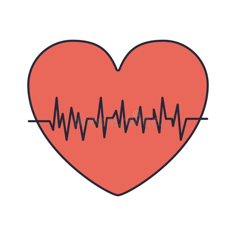Rotes Herz mit Lebenszeichen lizenzfreie abbildung