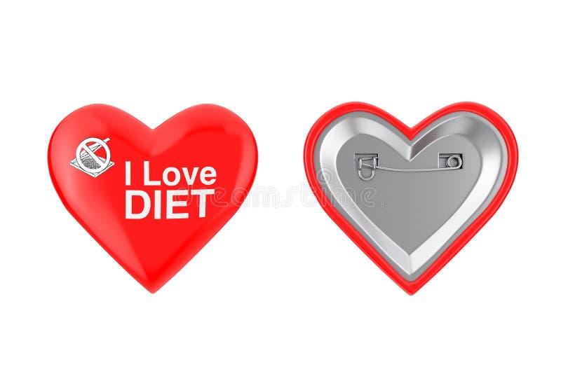Rotes Herz Pin Badges mit i-Liebes-Diät-Zeichen Wiedergabe 3d vektor abbildung