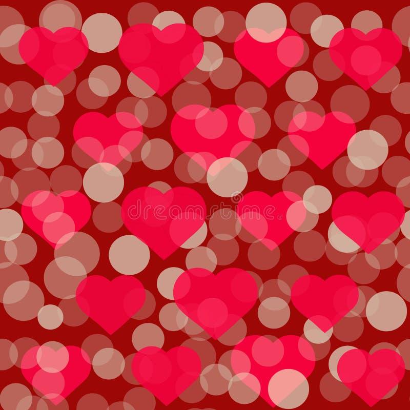 Rotes Herzmuster für Valentine Day-Grußkartendesign Romantische Illustration für Valentinsgrußtag vektor abbildung