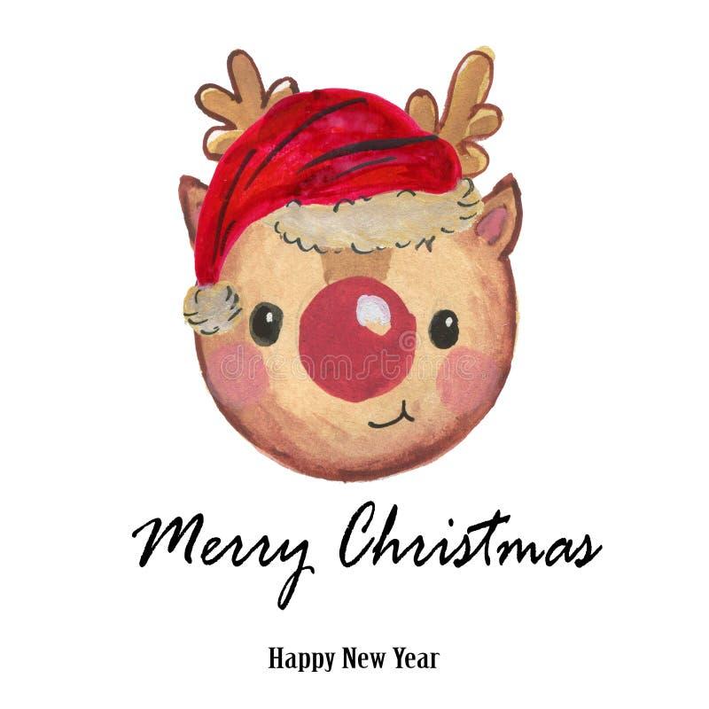 Rotes Hutren Aquarell-Santa Clauss handgemalt lizenzfreie abbildung