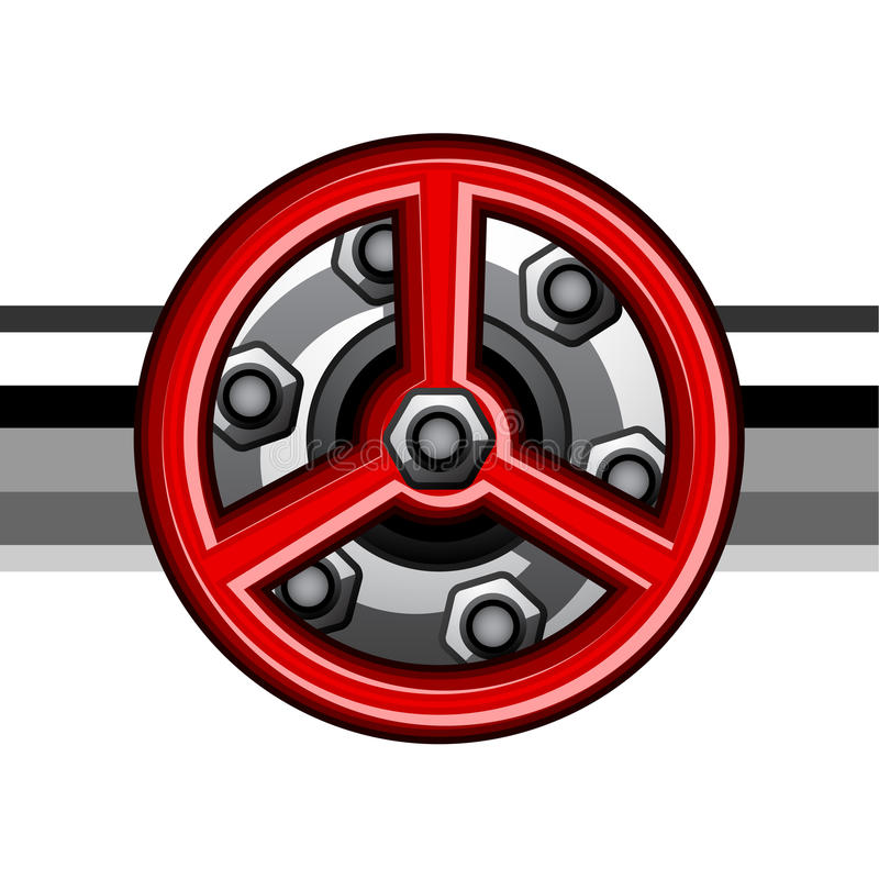 Rotes industrielles Ventil vektor abbildung
