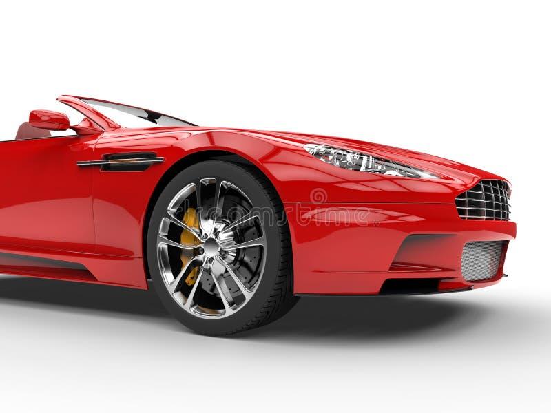 Rotes Kabriolett trägt Motor- Atelieraufnahme - Vorderansichtschnittschuß zur Schau stockfotografie