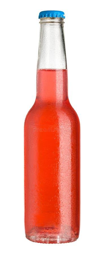 Rotes kaltes Getränk in der Flasche stockbild
