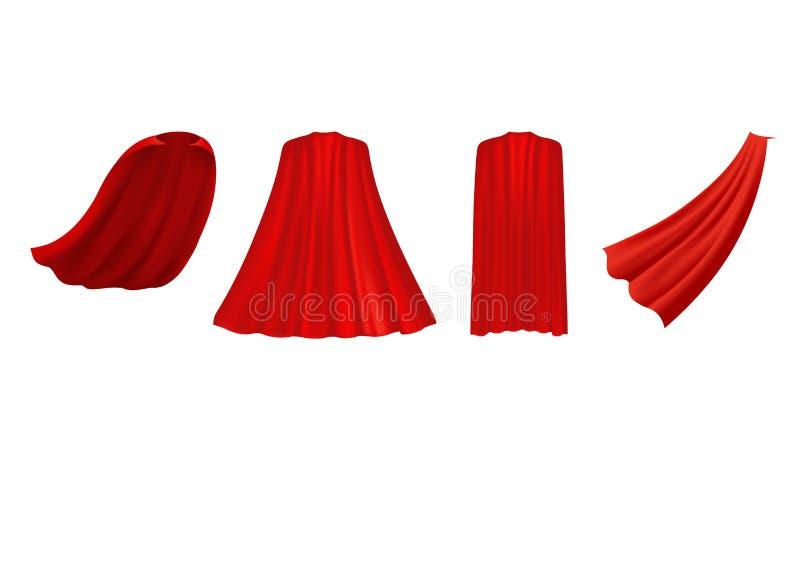 Rotes Kap des Superhelden in den verschiedenen Positionen, Front, Seite stock abbildung