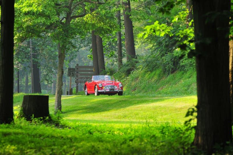 Rotes klassisches Auto auf der Straße lizenzfreies stockbild