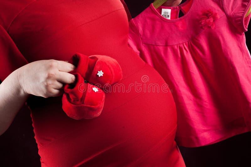 rotes Kleid des Bauchmädchens schwanger Baby-Kleidung lizenzfreie stockbilder