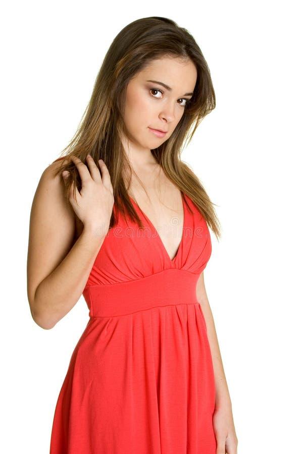 Rotes Kleid-Mädchen lizenzfreie stockbilder