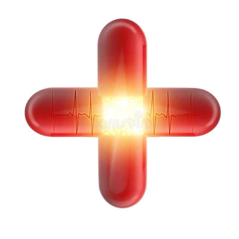 Rotes Kreuz der Pillen vektor abbildung