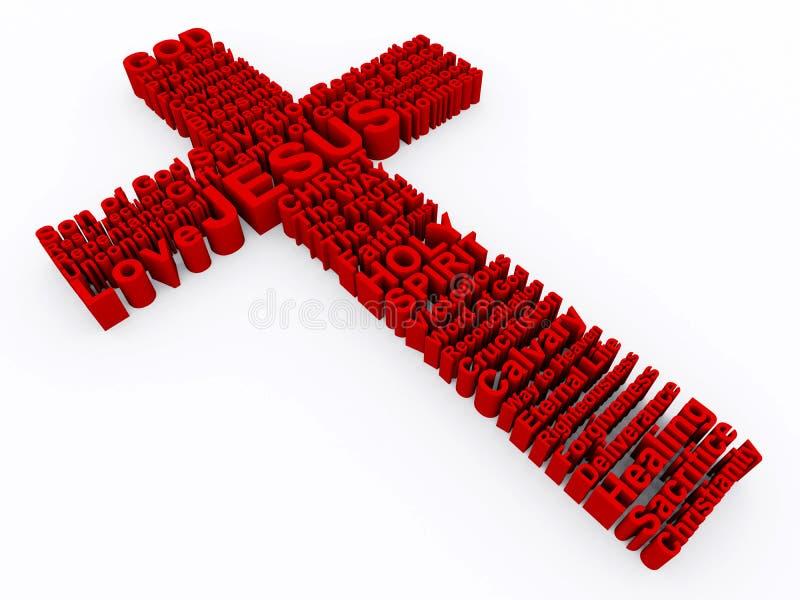 Rotes Kreuz gebildet von den Wörtern 3D stock abbildung