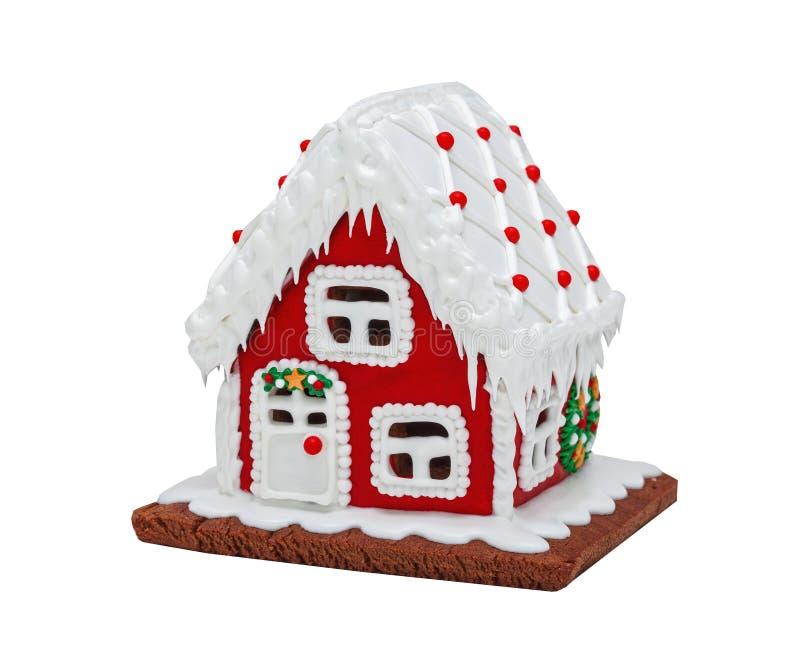 Rotes Lebkuchenhaus, Weihnachten handmade lizenzfreie stockfotografie