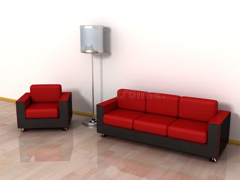 Rotes ledernes Sofa, Lehnsessel und stilvolle Fußbodenlampe lizenzfreie abbildung
