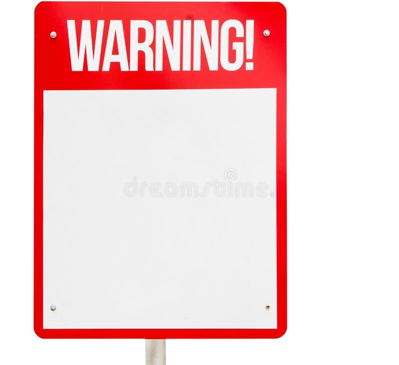 Rotes leeres lokalisiertes Weiß des Warnzeichens stockbild