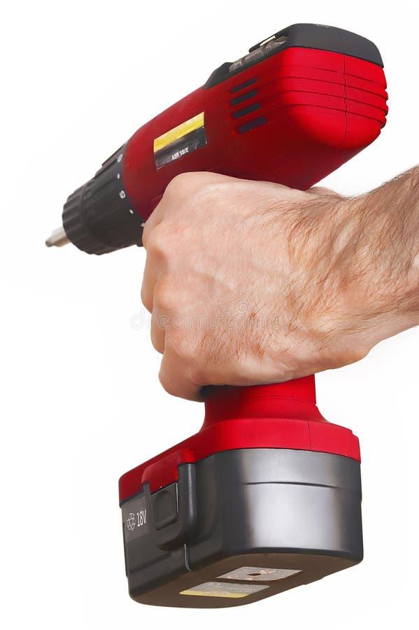 Rotes Leistungbohrgerät auswendiges Bohrmaschine lizenzfreies stockfoto