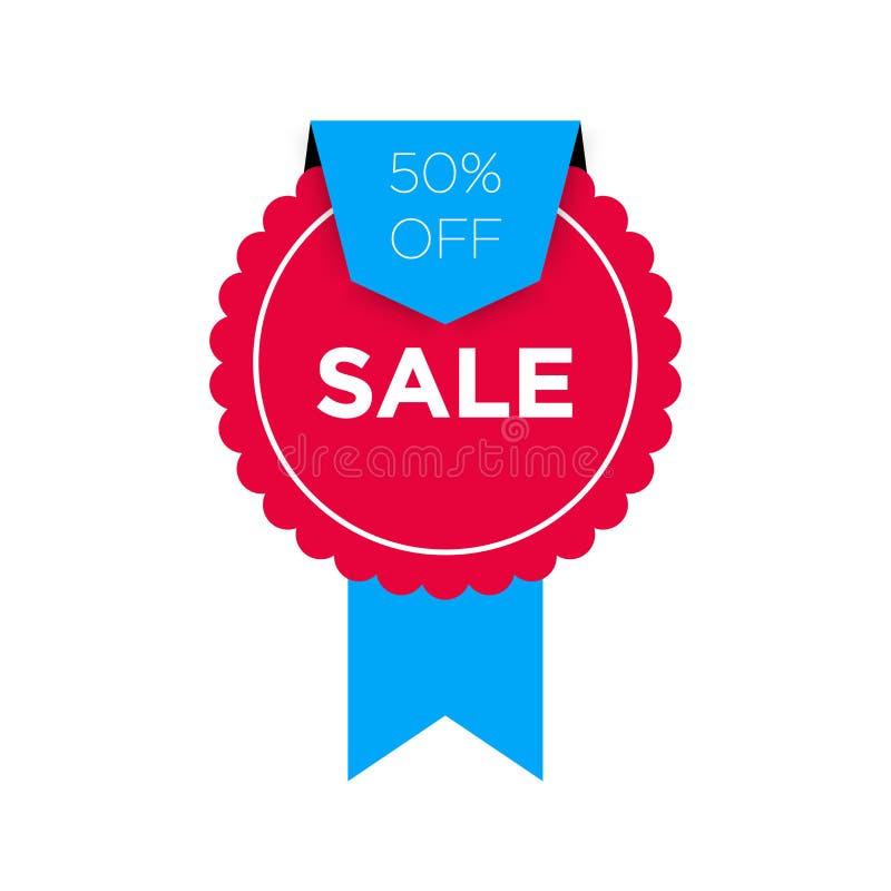 Rotes Leistungselement wirh blaues Band 50% Verkaufsfahnen-Schablonenentwurf Sonderangebot des großen Verkaufs von 50 Prozent Bla lizenzfreie abbildung