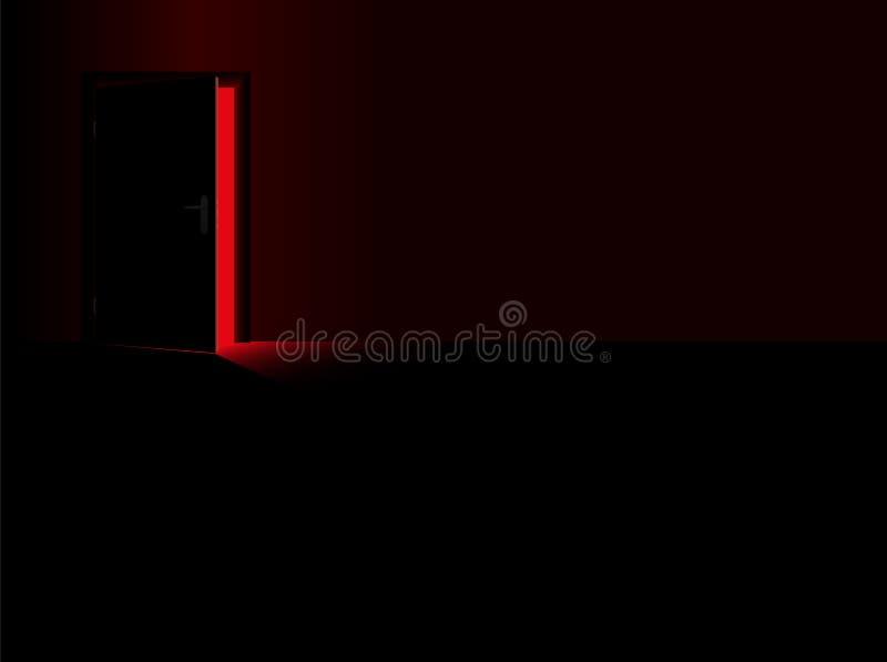 Rotes Licht-Dunkelheit der Erregungs-Gefahrenoffenen tür lizenzfreie abbildung