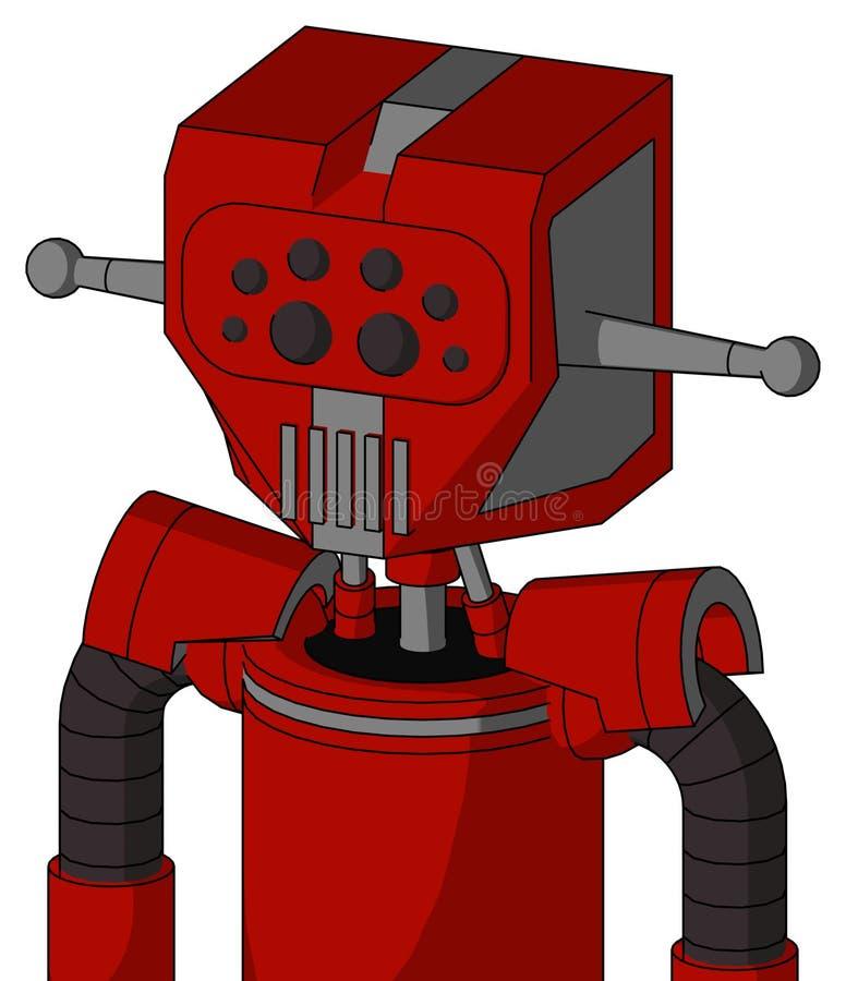 Rotes Mech mit mechanischem Kopf- und Maul- und Bug-Augen vektor abbildung