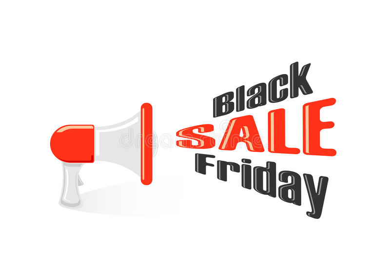 Rotes Megaphon mit schwarzem Freitag-Verkauf lizenzfreie abbildung