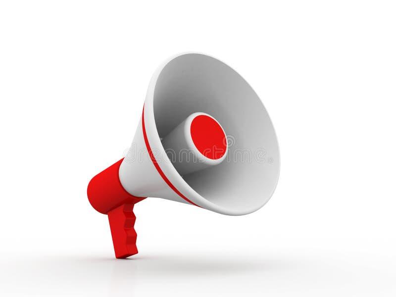 Rotes Megaphon oder Lautsprecher im Design von informationsbezogenem zur Kommunikation Abbildung 3D vektor abbildung