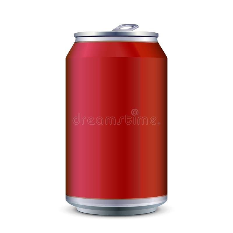 Rotes Metallkann aluminiumgetränkegetränk 330ml Bereiten Sie für Ihre Auslegung vor Produkt-Verpackungs-Vektor vektor abbildung