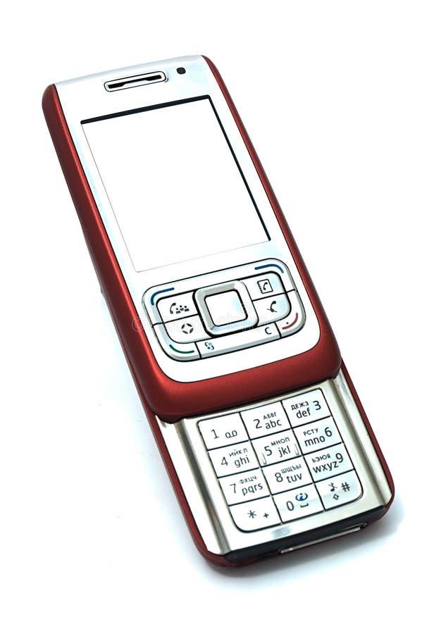 Rotes Mobilschwebertelefon stockbilder