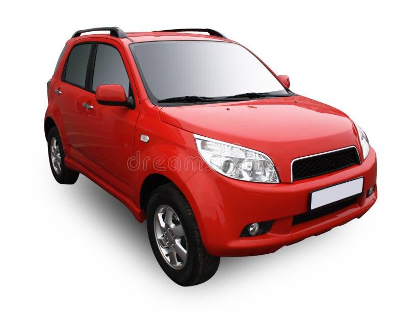 Rotes modernes Auto getrennt auf Weiß stockfoto