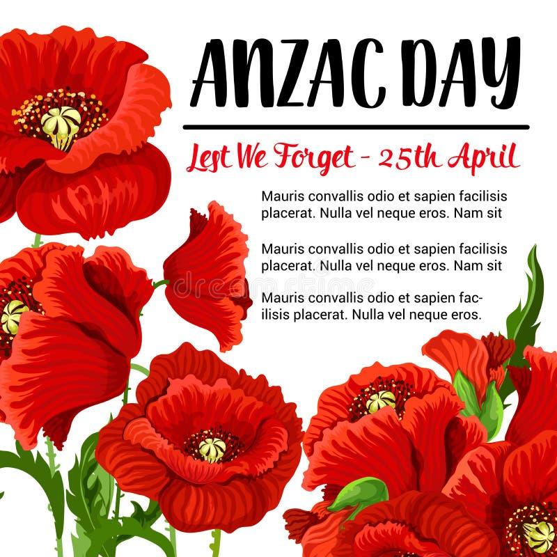 Rotes Mohnblumendesign der Anzac Day-Vektorerinnerungskarte stock abbildung
