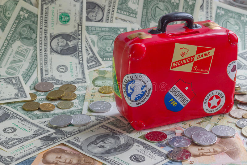 Rotes moneybank lizenzfreies stockfoto