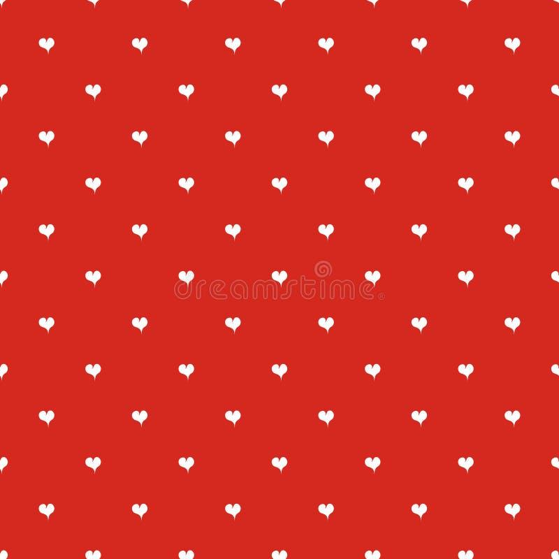 Rotes Muster des nahtlosen Tupfens mit Herzen stock abbildung