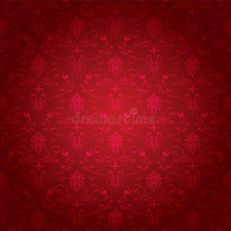 Rotes nahtloses aufwändiges Muster stock abbildung