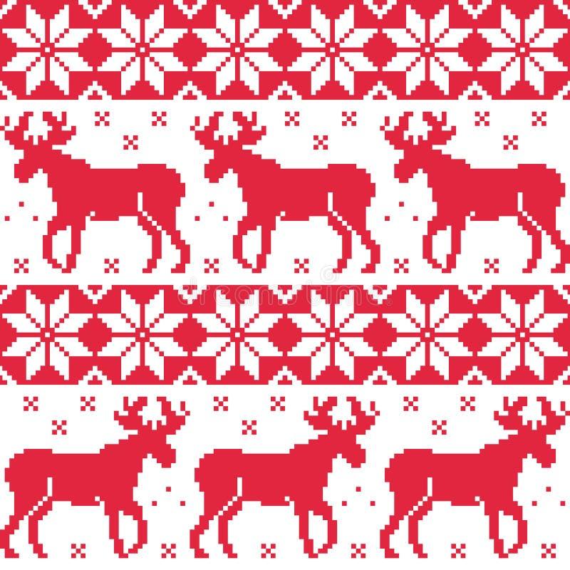 Rotes nahtloses Muster des Winters mit Ren stock abbildung