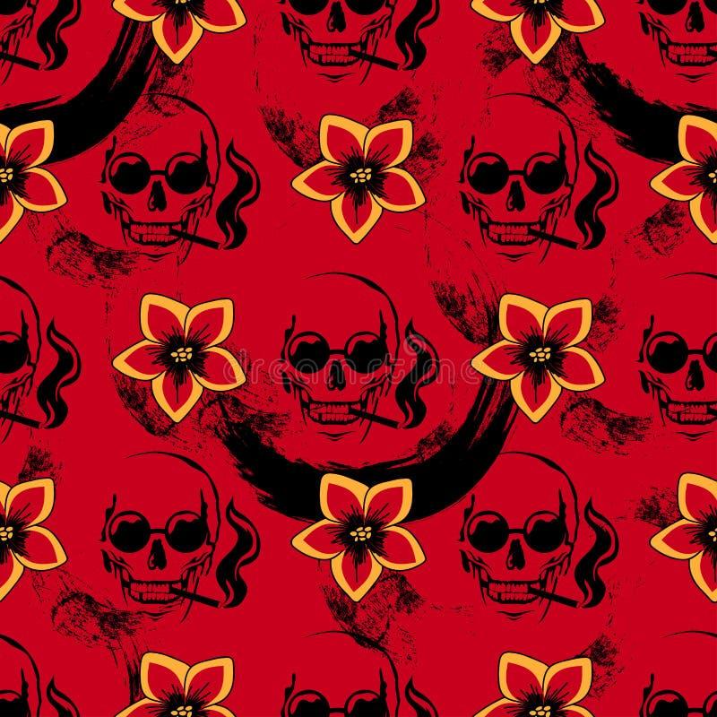Rotes nahtloses Muster mit dem rauchenden Schädel und den gelben Blumen stock abbildung