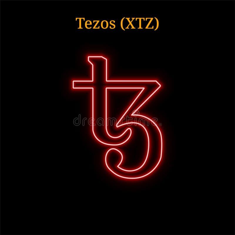 Rotes Neon-cryptocurrency Tezos XTZ Symbol lizenzfreies stockbild
