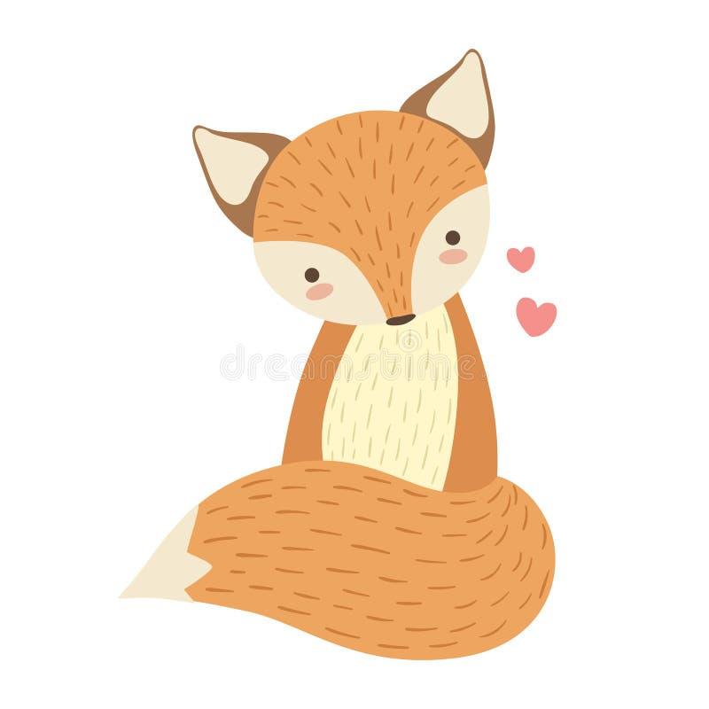 Rotes nettes Toy Animal With Detailed Elements Teil Fox der Fauna-Sammlung kindischer Vektor-Aufkleber stock abbildung