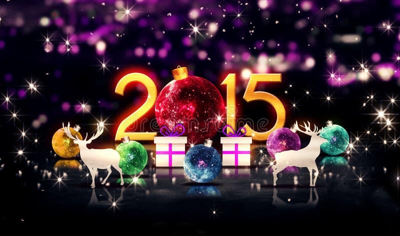Rotes neues Jahr 2015 des Kristall-Flitter-Weihnachtsrotwild-Geschenk-3D stock abbildung