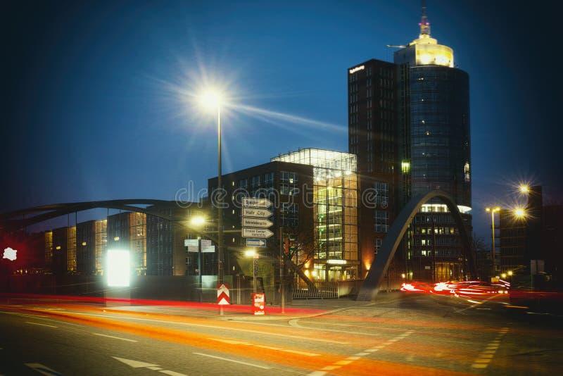 Rotes neustadt hafencity schneller Stau schnell Hamburg-Stadtverkehr innenstadt Lasers stockbild