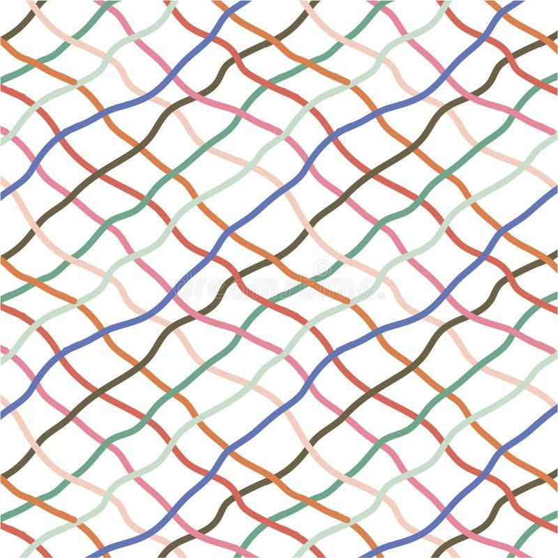 Rotes orange Blau greeen Handgezogene diagonale Zeilendarstellung lizenzfreie abbildung