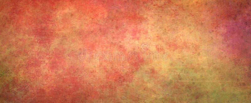 Rotes orange Gelbes und rosa in der Schmutzbeschaffenheit und im Farbspritzenentwurf, abstrakter Weinlesehintergrund lizenzfreie abbildung