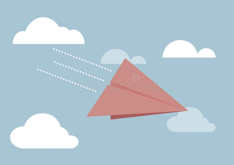 Rotes Papierflugzeugfliegen im Himmel stock abbildung