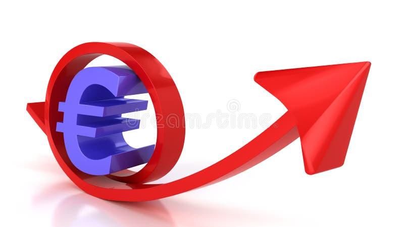 Rotes Pfeil- und Eurozeichen stock abbildung