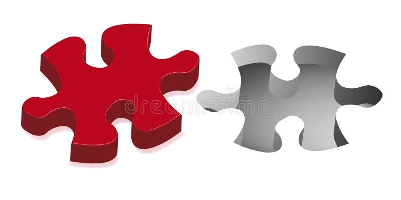 Rotes Puzzlespiel lizenzfreie abbildung