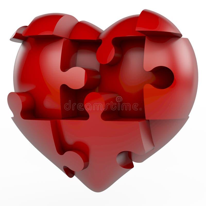 Rotes Puzzlespielherz lizenzfreie abbildung