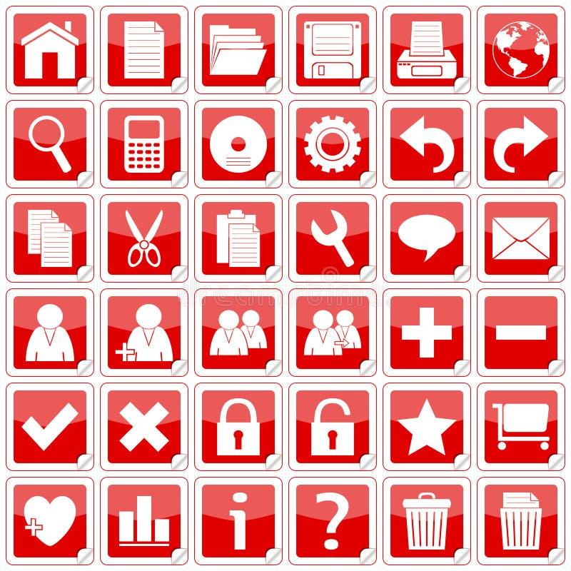 Rotes Quadrat-Aufkleber-Ikonen [1] stock abbildung